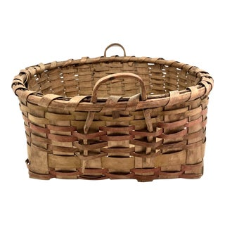 Antique Ash Splint Work Basket With Notched Bentwood Handles For Sale
