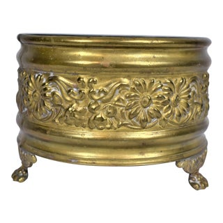 1960s Vintage Brass Cachepot For Sale