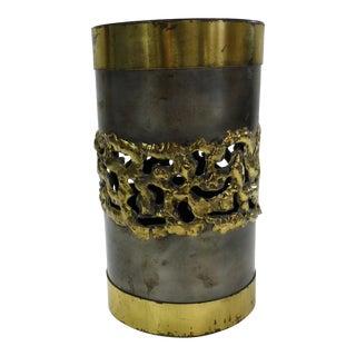 Vintage Burien Art Gallery Signed Brutalist Wine Bottle or Candle Holder For Sale