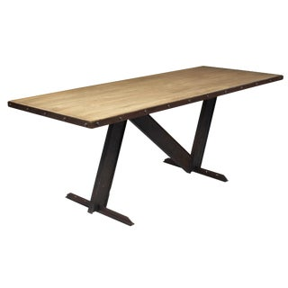 Industrial Dining Table With Cerused Wood Top For Sale