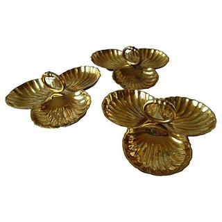 Brass Clam Shell Catchalls - Set of 3 For Sale