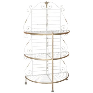 19th Century French Wrought Iron Demilune Baker's Rack For Sale