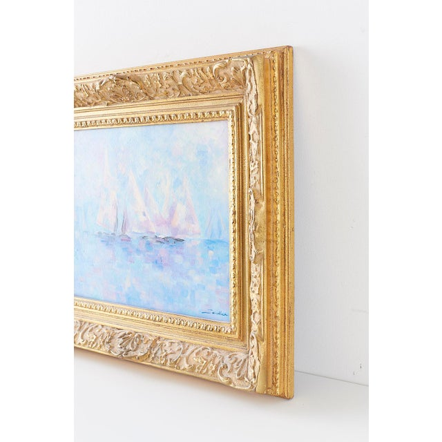 Canvas Midcentury Oil on Canvas Painting of Sailboats For Sale - Image 7 of 13