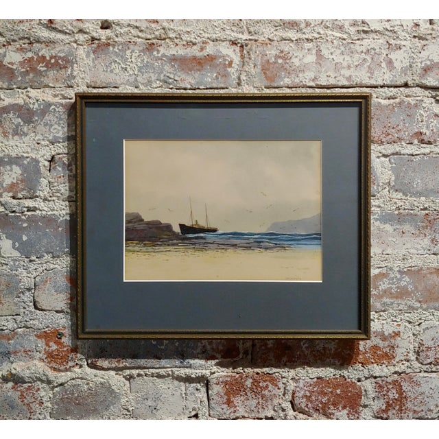 Ethel Turner -Ship Near the English Coast -Watercolor Painting-C1920s For Sale - Image 9 of 9