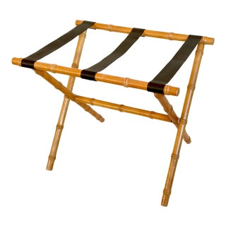Adnet Style Chinoiserie Faux Bamboo Luggage Stand For Sale