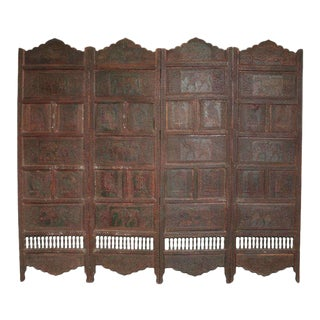 Large Four-Panel Teak Wood Early 20th Century Floor Screen with Carved Animals