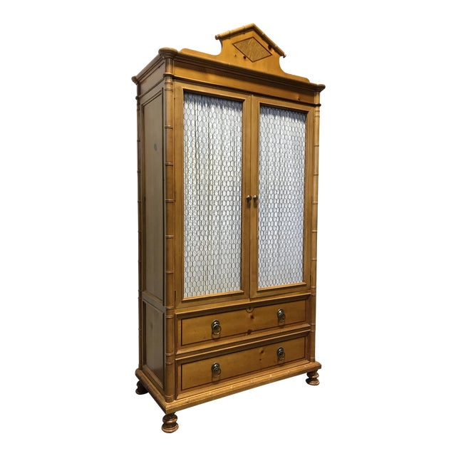 Baker Furniture Inlaid Pine Faux Bamboo Armoire W/ Wire Mesh Doors & Fitted Interior - Image 1 of 11