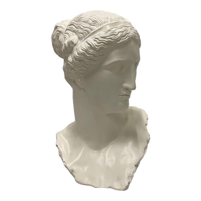 Romantic Fiberglass Bust of Diana, Sculpture For Sale