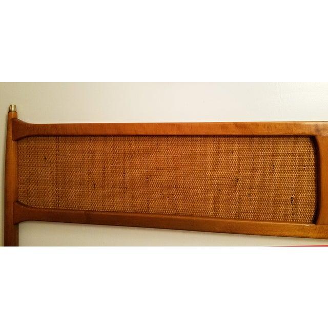Vintage Brass Wood King Nakashima Style Headboard - Image 4 of 5
