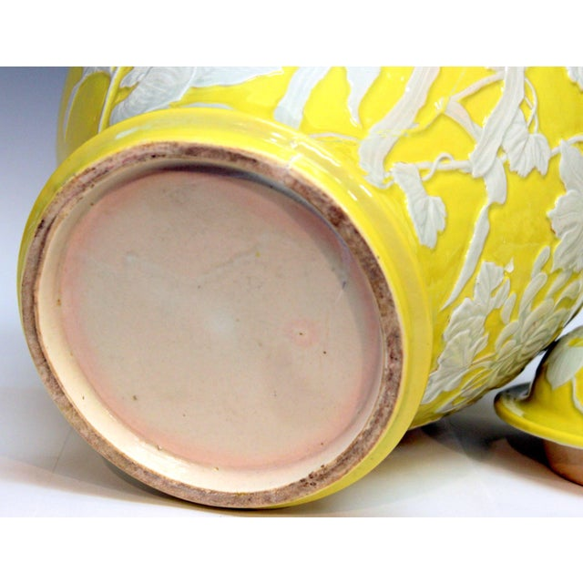 Large Antique Japanese Carved Studio Porcelain Yellow Covered Urn Vase For Sale - Image 9 of 11