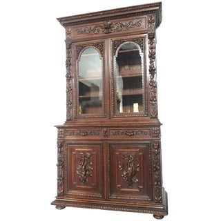Flemish Buffet a Deux Corps in Carved Oak, Circa 1850 For Sale