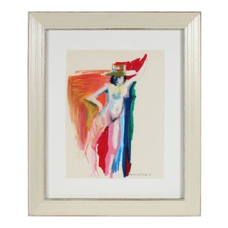 Colorful Figure With Hat, Distemper and Pastel Drawing, 1950s-60s For Sale