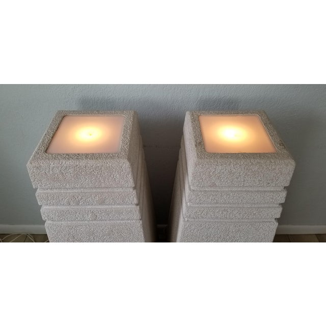 1980s Vintage Postmodern Plastered Wood Illuminated Pedestals. - a Pair For Sale - Image 5 of 13