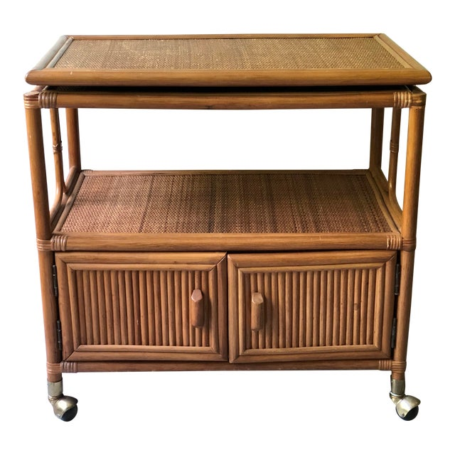 Vintage Mid-Century 1970's Bamboo Ratan Bar Cart For Sale