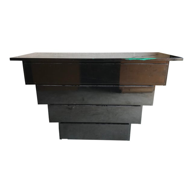 Art Deco Revival Black Lacquer Credenza Server For Sale