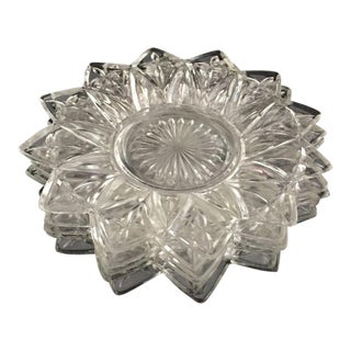 Mid-Century Star Shaped Pressed Glass Plates - Set of 6