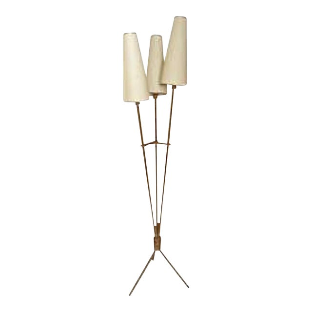 Audoux Minet Riviera Style 3 Lights Rope Standing Lamp For Sale
