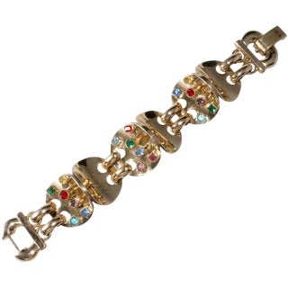 Art Deco Bracelet Multi-Color Rhinestones Heavy Gold Plated Jewel Tone Vintage For Sale