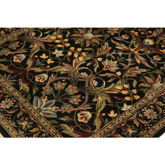 Textile Abusson Pak-Persian Mina Black/Blue Wool Rug - 4'2 X 6'2 For Sale - Image 7 of 8