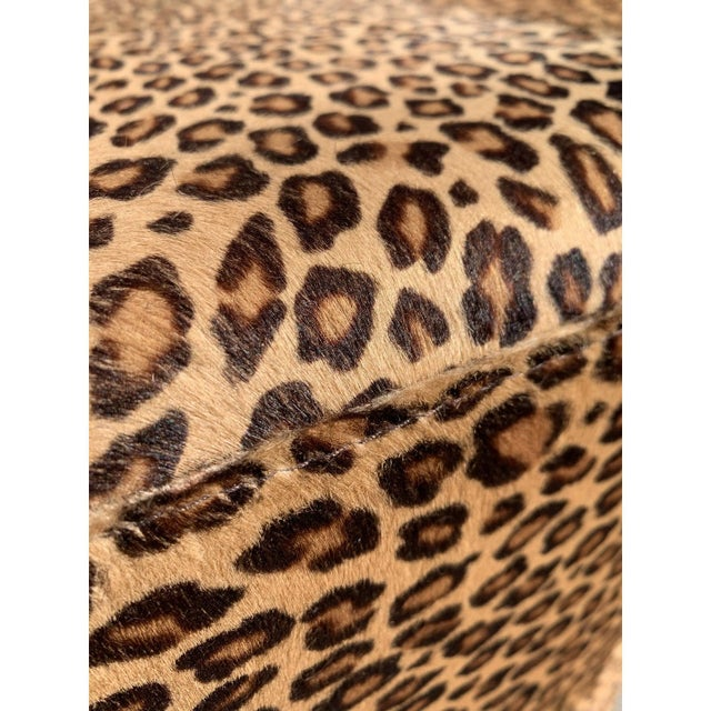 Vintage French Leopard Leather Ottoman Coffee Table, 1910s For Sale - Image 12 of 13
