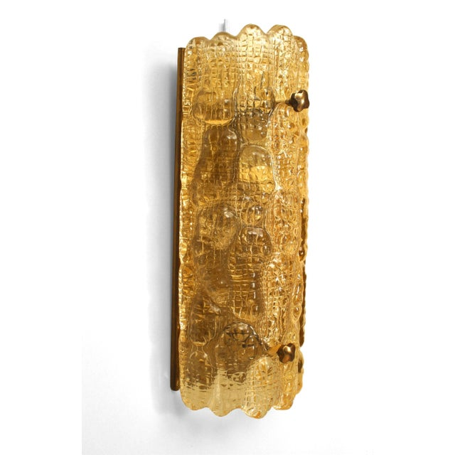 """Contemporary Mid-20th Century Orrefors Swedish """"Crocodile"""" Textured Wall Sconces - a Pair For Sale - Image 3 of 4"""