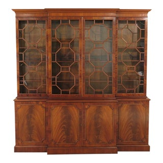 1990s Vintage English Style Mahogany Breakfront For Sale