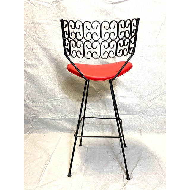 Red Wow Arthur Umanoff for Grenada Collection Iron Swivel Counter Bar Stools W/ Original Red Cushions For Sale - Image 8 of 10