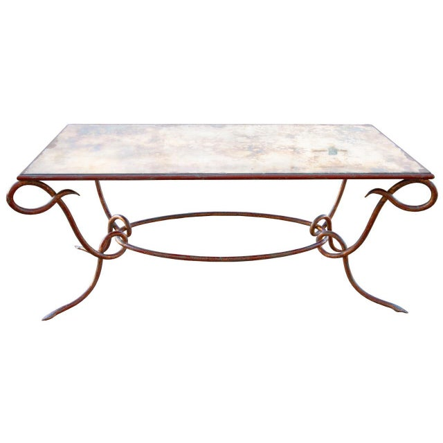 Circa 1940 René Drouet Patinated Silvered Glass and Forged Steel Coffee Table. France - Image 6 of 6