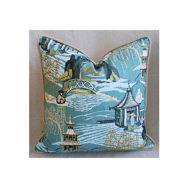 Designer Chinoiserie Asian Toile Pillows - Pair - Image 3 of 7