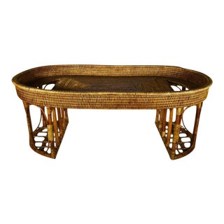 Vintage Burmese Handwoven Rattan Breakfast Coffee Serving Table From the 1970s For Sale