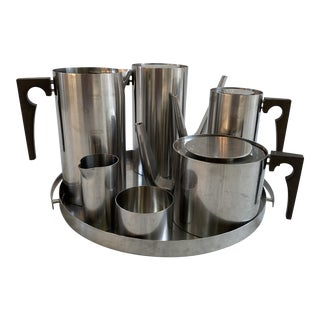 1970s Arne Jacobsen Stelton Stainless Coffee/Tea Set - 7 Pieces For Sale