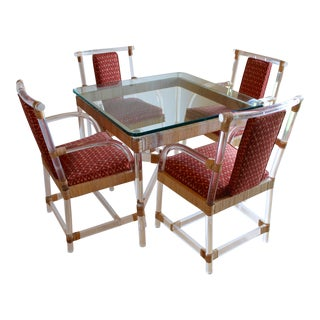 Vintage Mid Century Modern Ficks Reed Lucite + Rattan Pagoda Chinoiserie Chippendale Dining Set, Chairs and Table - 5 Pieces For Sale