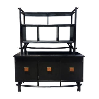 Rattan Pagoda Room Divider Buffet Credenza Cabinet For Sale