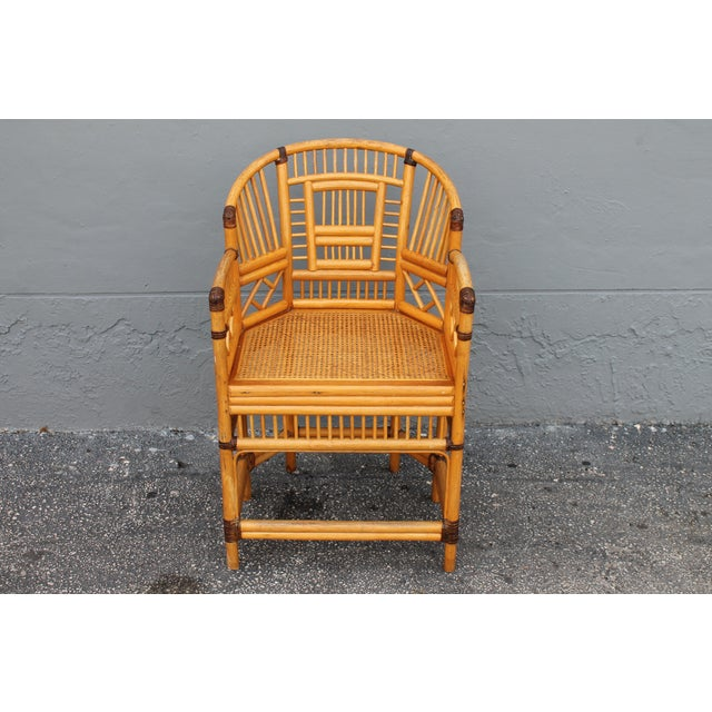 A Lovely Vintage Palm Beach Regency Heavy Tight Wounded Rattan Armchair in Excellent Condition. This is a gorgeous piece!...