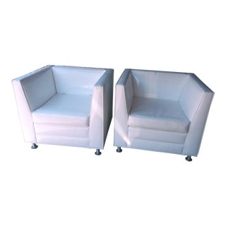 Late 20th Century White Patent Cube Club Lounge Chairs- a Pair For Sale
