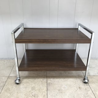 Mid-Century Modern Chrome and Wood Bar Cart on Castors Preview