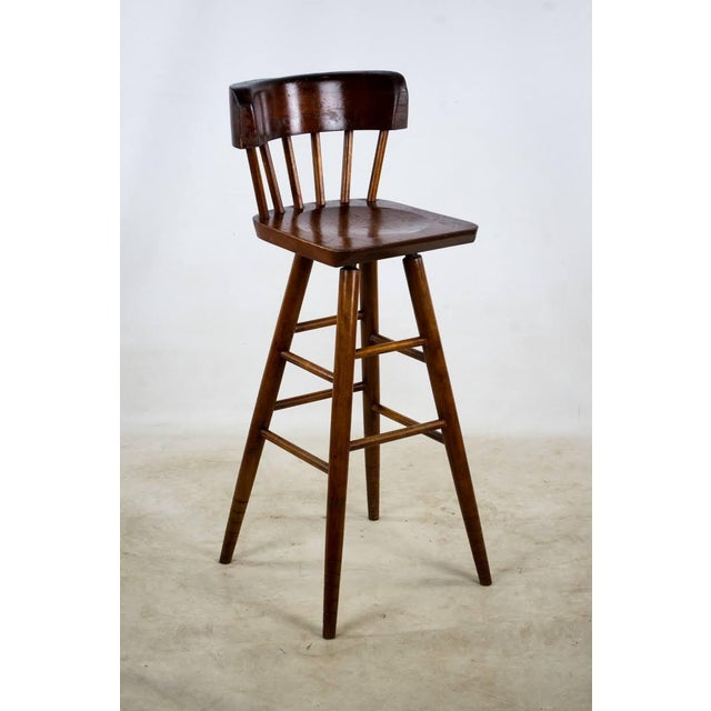 English Traditional 1900s English Traditional Mahogany Bar Stools - a Pair For Sale - Image 3 of 13