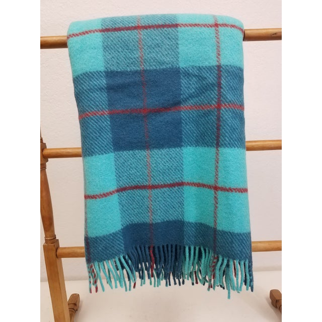 Wool Throw Blue, Aqua and Red in Different Sized Stripes - Made in England For Sale - Image 11 of 11