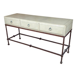 Vintage Wrought Iron & Leather Top Sofa Table Console For Sale