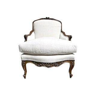Vintage French Linen & Hide Bergere Chair For Sale