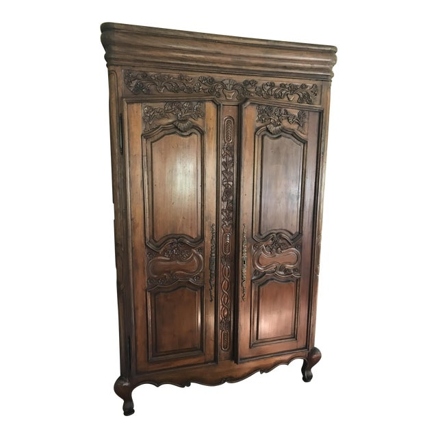 French Provincial Carved Wood Armoire - Image 1 of 8