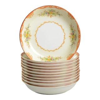 Vintage Noritake Rust Accent and Fleur Soup/Salad Bowls - Set of 11 For Sale