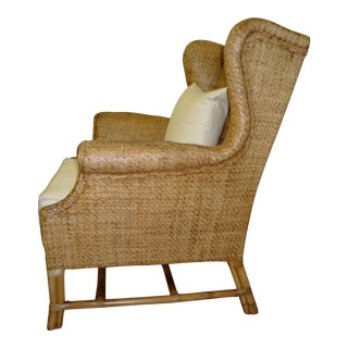 Contemporary Baker Wicker Wingback Chair