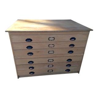 Oak Flat File Cabinet 6 Drawer For Sale