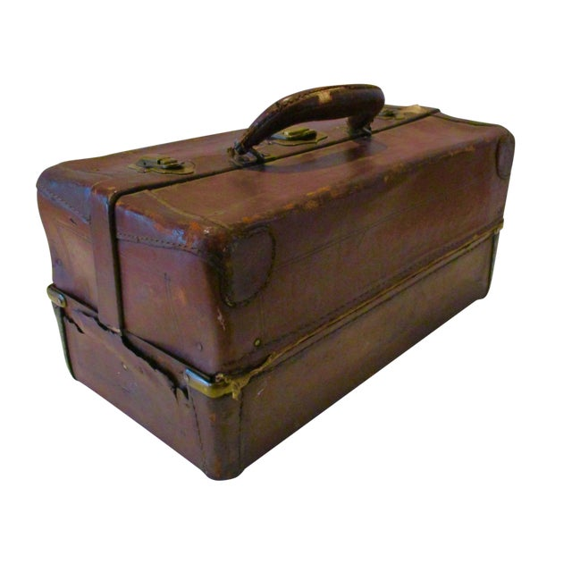 Antique Leather Fishing Tackle Box For Sale
