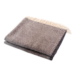 Contemporary Merino Wool Collection Grey Throw For Sale