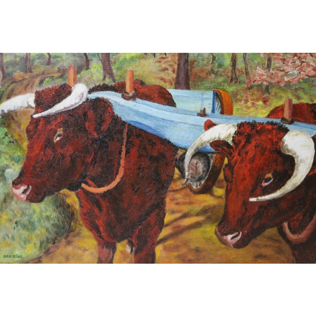 Ede-Else Oxen Oil Painting on Canvas For Sale In New York - Image 6 of 7