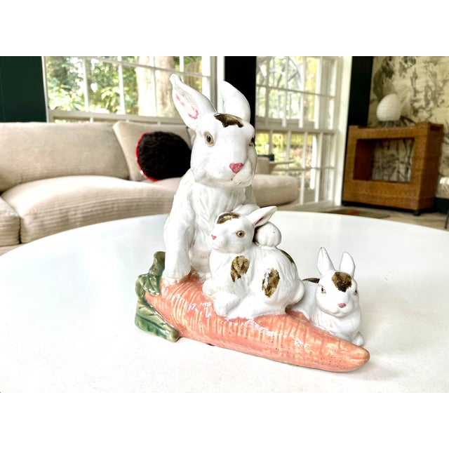 French Provincial Vintage Provencal Ceramic Bunny Statue For Sale - Image 3 of 13