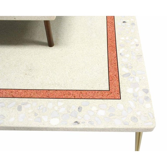 Mid 20th Century Geometric Design Tapered Legs Travertine Two Tier Corner Table For Sale - Image 5 of 7