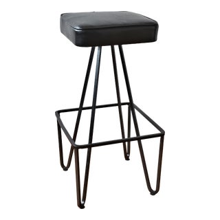 Mid-Century Modern Frederick Weinberg Style Iron Bar Stool For Sale